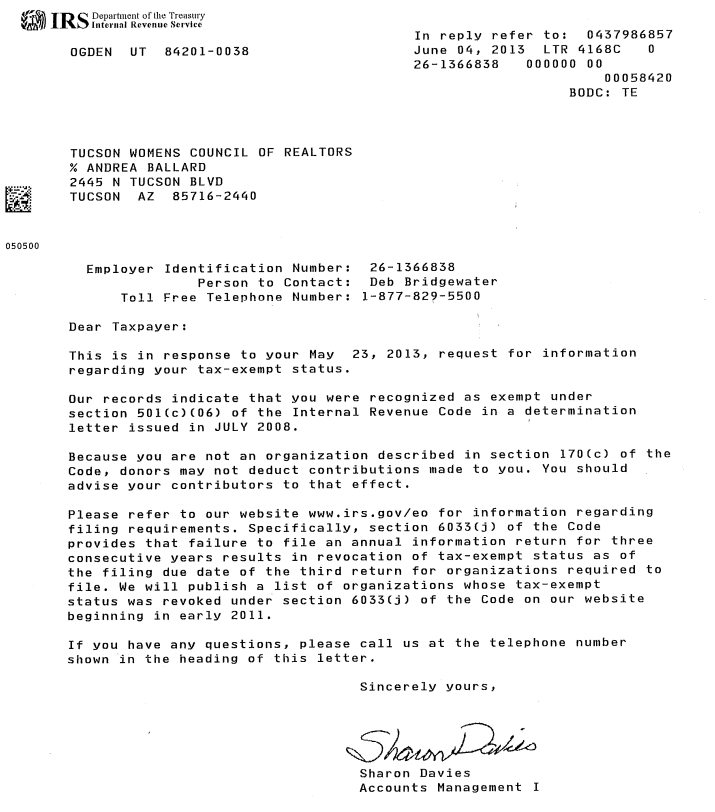 letter of determination irs irs determination letter 22952